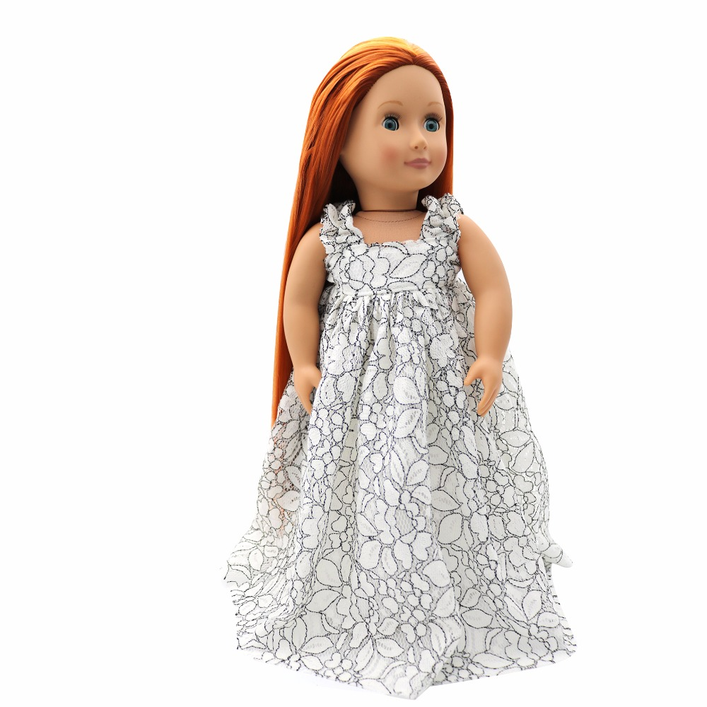 Black White One-piece Dress Summer Clothes for 18/'/' AG American Doll Doll