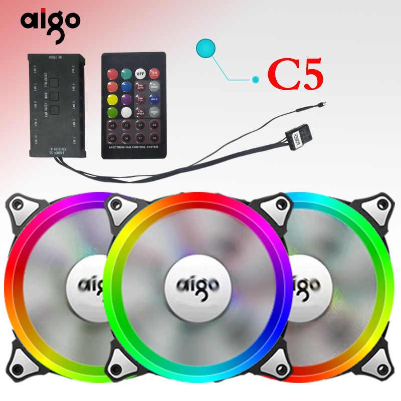 Aigo aura sync boîtier ventilateur 12V Led réglable refroidissement RGB ventilateur avec télécommande IR silencieux 120mm refroidisseur de processeur PC Gamer ventilateur