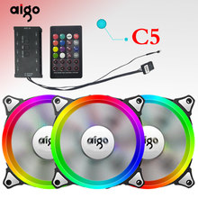 Aigo C5 PC Fall Fan 12 V Led Einstellbare Kühlung RGB Fan mit IR Fernbedienung Stille 120mm CPU kühler PC Gamer Fan(China)
