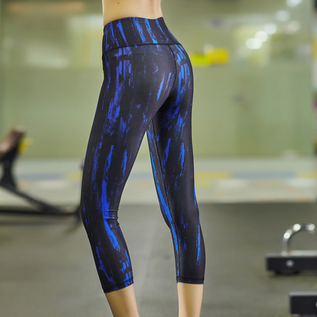 cd116521cb Womens Capris Pants Sport Yoga Pants High Waist Workout Leggings Compression  Running Tights Women Sports Fitness Slim 7 Legging