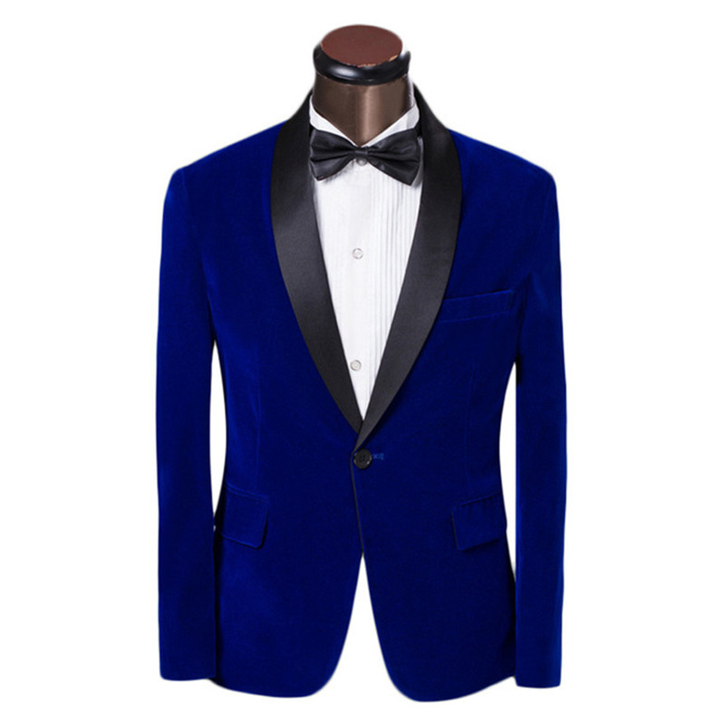 2017 Dark Bule Velvet Coat Slim Fit Men Suit Groomsmen Tuxedos Prom Casual Velour Mens Suits Wedding Groom Skinny (Jacket+Pants)