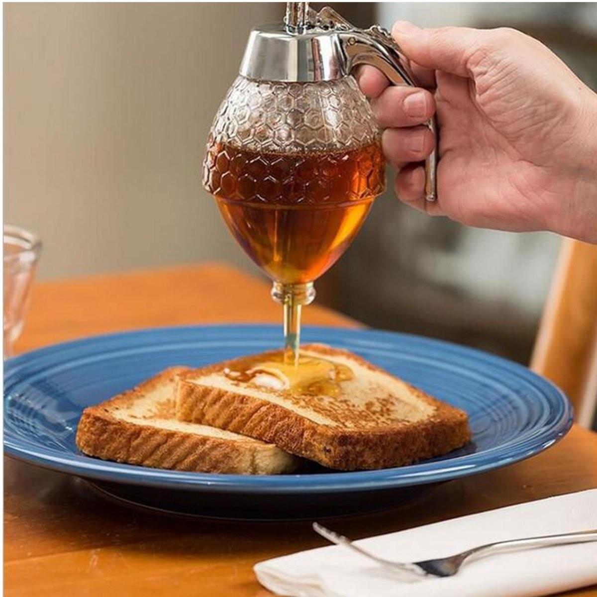 200ML <font><b>Honey</b></font> Dispenser Jar Container <font><b>Cup</b></font> Portable Acrylic Storage Pot Juice Bee Drip Bottle Cooking Tool Craft