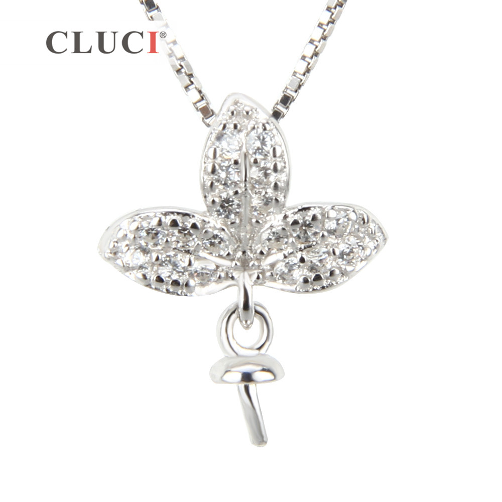 CLUCI 925 Silver Shamrock Pearl Pendant Mounting For Jewelry Making Sterling Silver Women Charms Pendant
