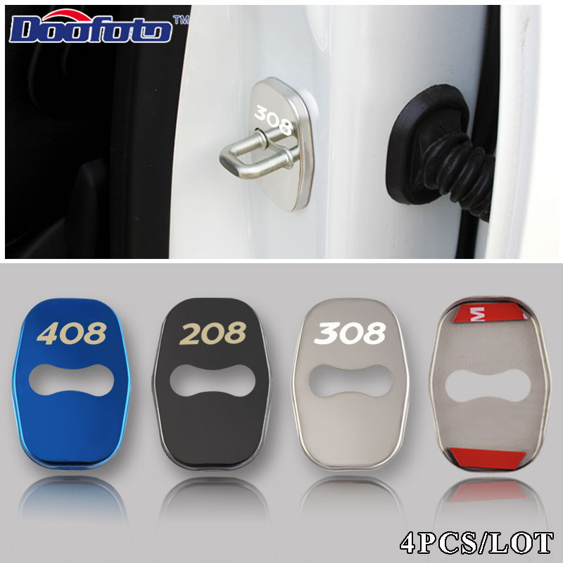 Doofoto Car Styling Auto Stainless Steel Door Lock Cover Badge Fit For Peugeot 308 408 508 RCZ 208 3008 2008 Emblems Accessories