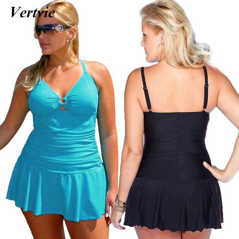 Vertvie Sexy Halter Swimwear Women Plus Size One Piece Bikini Backless Skirt Female High Elastic Swimwear Dresses Fit Fat women plus size scalloped backless one piece swimsuit