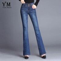 YuooMuoo New Fashion 2 Tasten Design Retro Elastische Hohe Taille Jeans Denim Flare Hosen für Frauen Plus Größe Blue Jeans böden