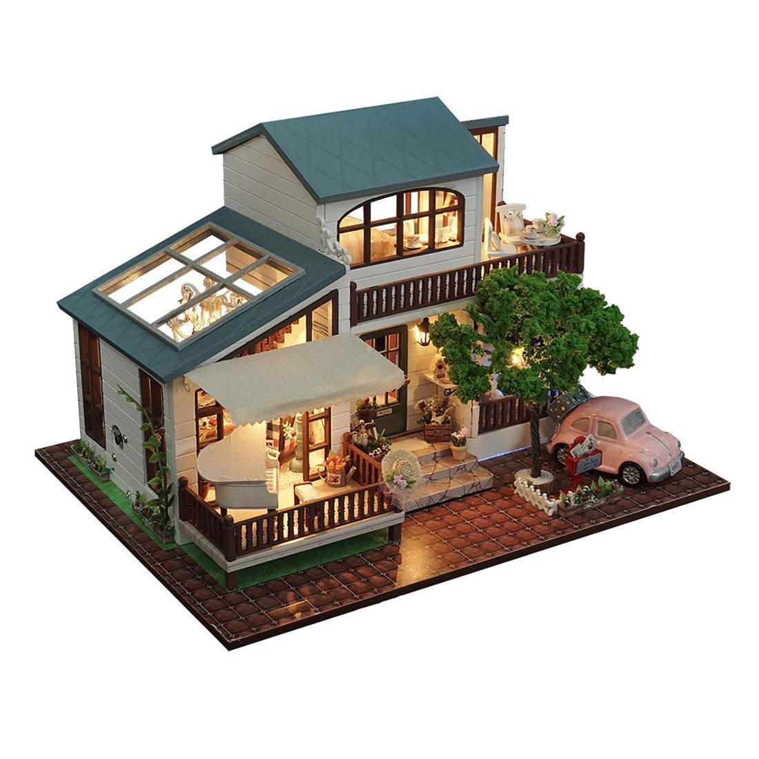 Oyuncaklar ve Hobi Ürünleri'ten Oyuncak Bebek Evleri'de Ahşap Diy Dollhouse Oyuncak Minyatür Kutusu Bulmaca Dollhouse Diy Kiti Bebek Evi Mobilya Londra Tatil Modeli Hediye Oyuncak Çocuklar Için'da  Grup 2