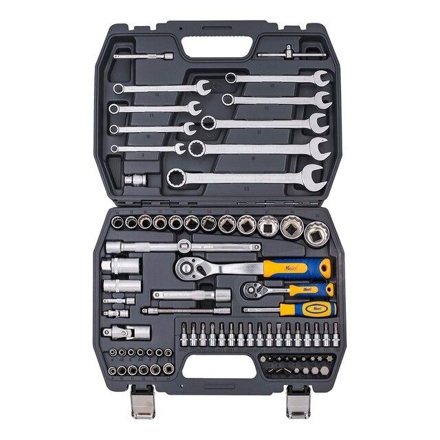 Набор ручного инструмента KRAFT КТ 700681 (82 предмета, торцевые головки, удлинители, кейс)