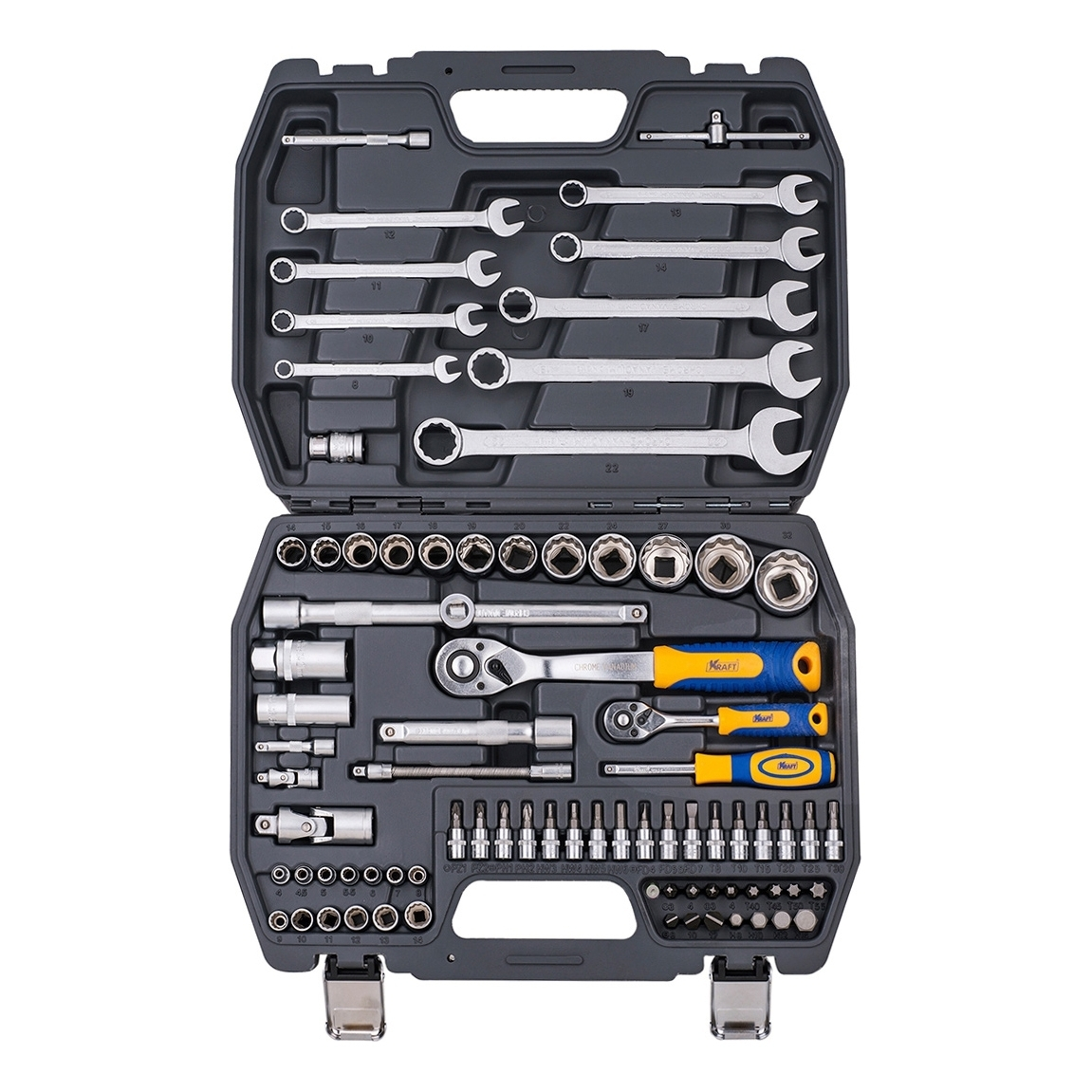 Set hand tool KRAFT CT 700681 (82 subject, end head, extension cords, case) цена в Москве и Питере