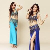 New Style Belly Dance Costume Wear Bra Belt Skirt 3pcs Set Indian Clothes Egypt Style Bellydance