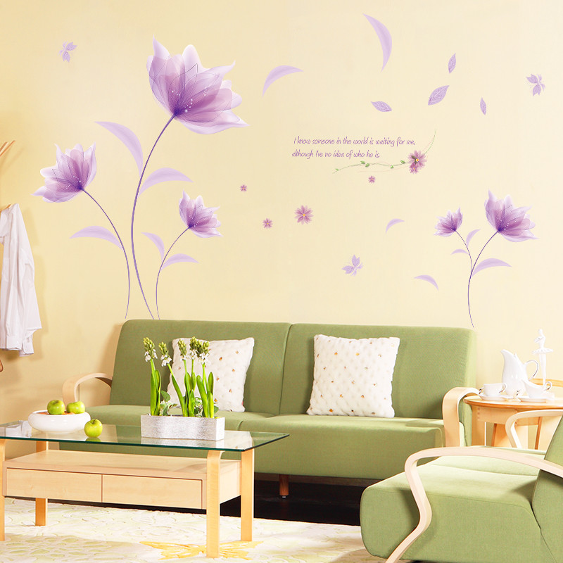 DIY Purple Flowers Environment Layout TV Background Wall Decoration ...