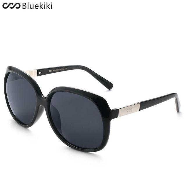 ef76aa1ac444e4 KIKI Femmes Polarisées lunettes de Soleil Rétro Grand Rond PC Cadre Marque  Design Noir Lunettes de