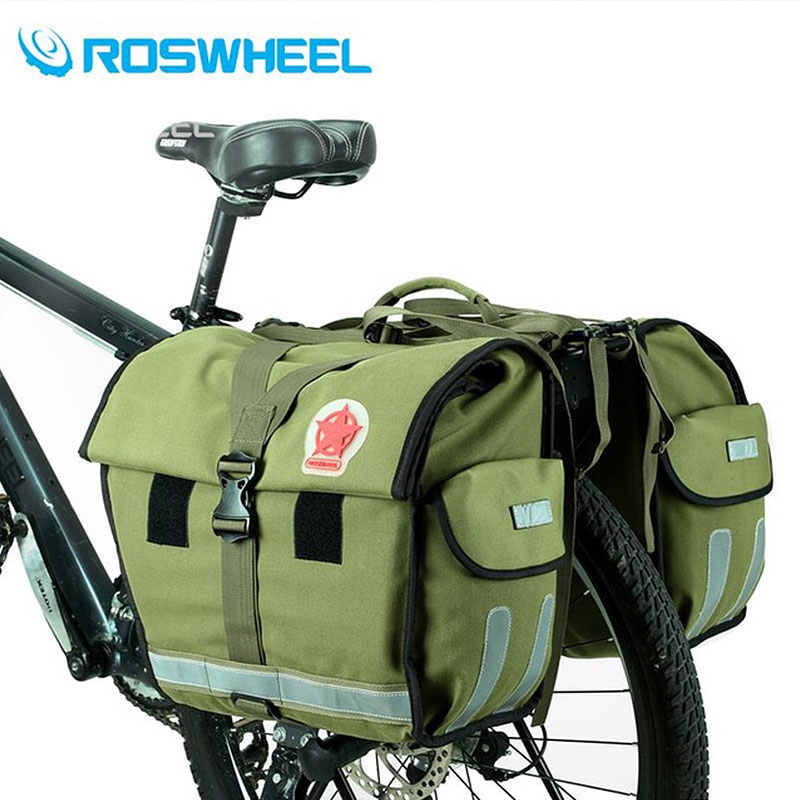 Roswheel Green Canvas Waterproof Double Bicycle Pannier Rear Seat Bag Bike Pouch 40-50L Bike Trunk Rack Bag Bycicle Carrier Bag roswheel bike carrier rack bag multifunctional road bicycle luggage pannier rear pack seat trunk bag bike accessories bicicleta
