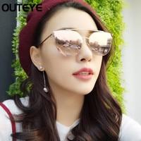 OUTEYE Cat Eye Sunglasses Women Oversize Frame Mirror Sunglasses Female Summer Style Oculos Fashion Eyewear Woman Sun Glasses F3
