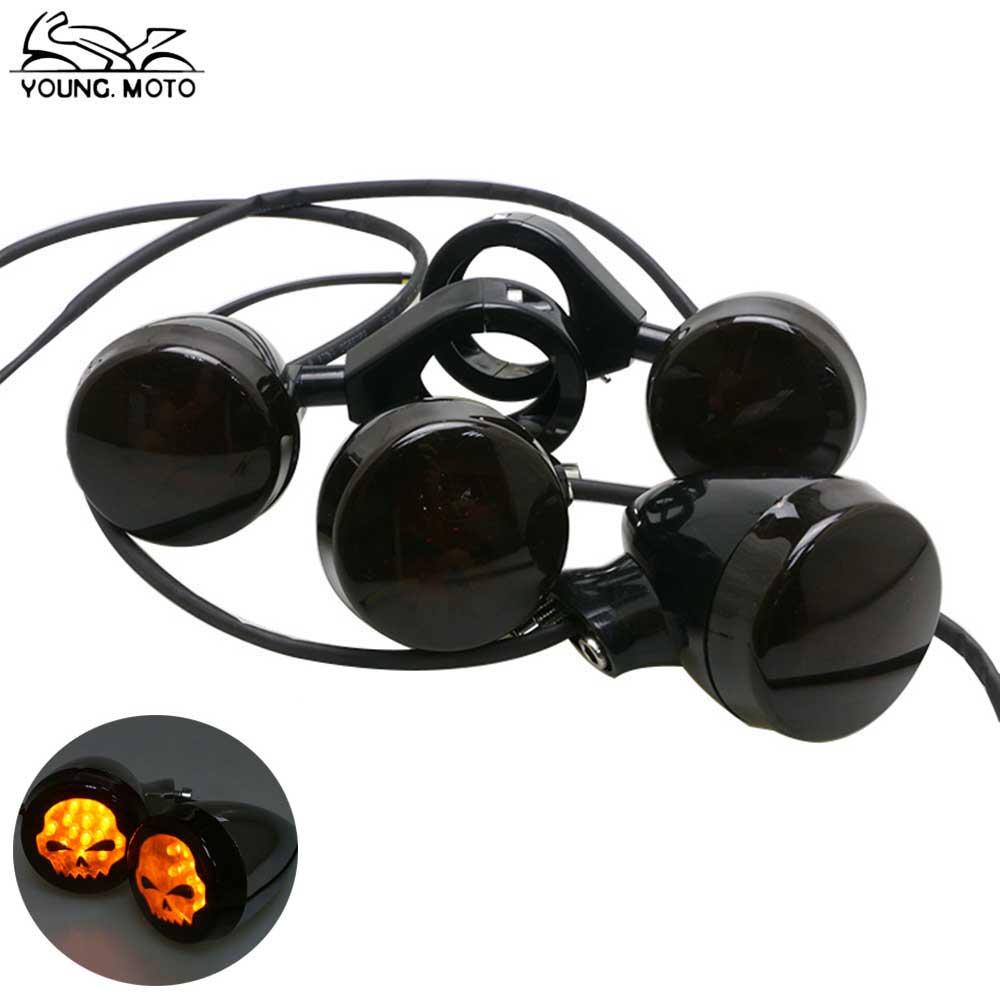 YOUNG.MOTO 4Pcs Front Rear LED Vintage Motorcycle Skull Turn Signals Indicator Lights Amber Light Smoke Lens For Harley Davison