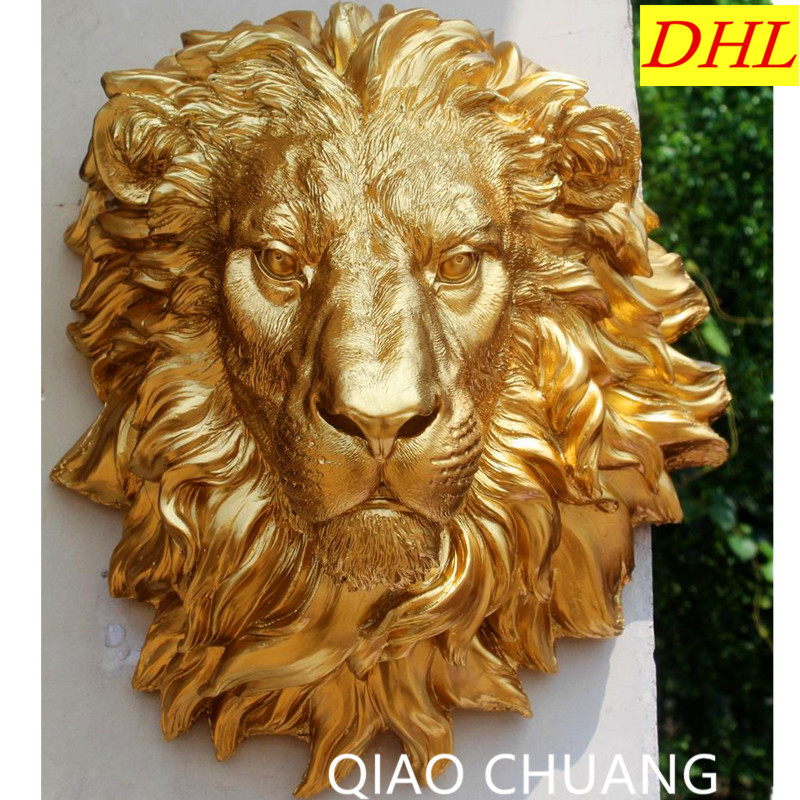 Фото 47CM Exquisite Resin Crafts NEW Gold Domineering Lion
