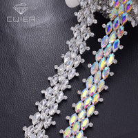 1yard Crystal AB rhinestones sewing appliques for wedding dress belt sash birdal decorations shiny strass garment patch HF 3400
