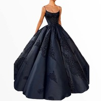 2018 Elegant Navy Blue Backless Prom Gowns Ball Gown Plus Size Lace Appliques Sexy Evening Gowns Long Satin Formal Black Dresses