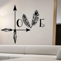 Hot Sale Feather Arrow Wall Stickers Love Home Decor Vinyl Removable Wall Decals DIY