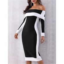 2019 Sexy Backless Party Dress Women Black Bodycon Off Shoulder Clothes Plus Size 5Xl Long Sleeve Office Midi