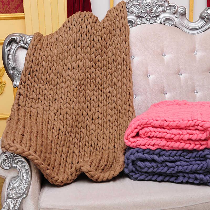 1 шт. ручной работы массивное вязаное одеяло толстая пряжа шерсть громоздкие кидает одеяло s вязаное мягкое теплое одеяло зимний диван домашний декор для кровати