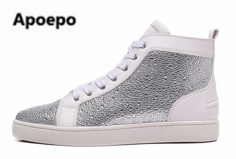 Apoepo brand white women sneakers shoes round toe Lace Up Bling flats shoes women crystal zapatillas mujer casual shoes spring instantarts women flats emoji face smile pattern summer air mesh beach flat shoes for youth girls mujer casual light sneakers