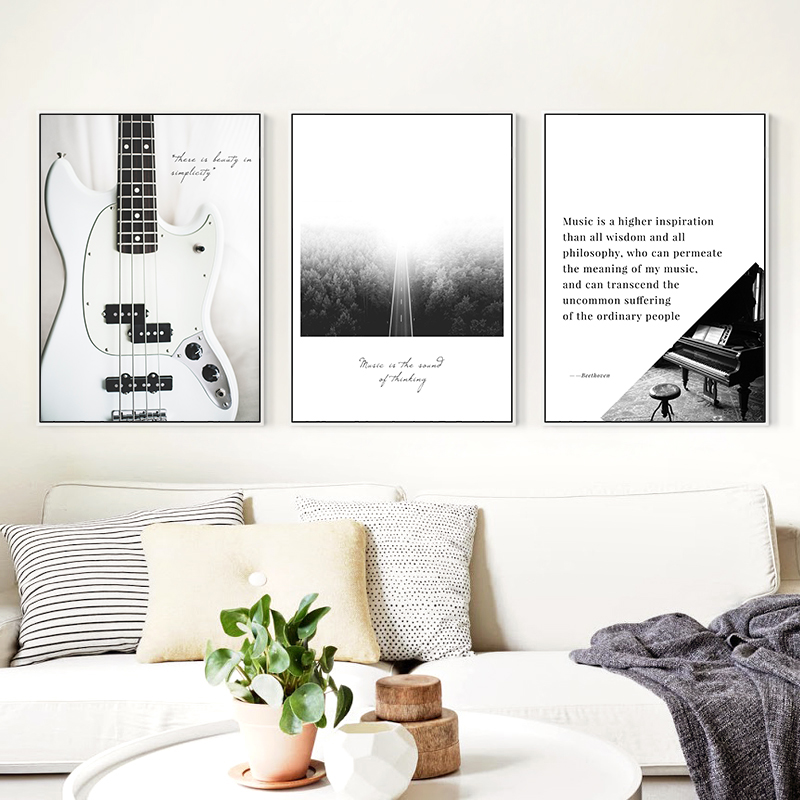 Minimalist Guitar Piano Notes And Birds Fog Road A4 Canvas Painting Printing Poster Picture Bedroom Living Room Decoration OT254 in Painting Calligraphy from Home Garden