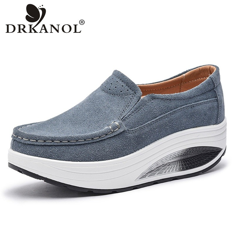 DRKANOL New Spring Autumn Women Flat Platform Shoes Cow Suede Breathable Casual Shoes Woman Round Toe Slip On Women Shoes baijiami 2017 new children solid breathable slip on pu casual shoes boys and girls spring summer autumn flat bottom shoes