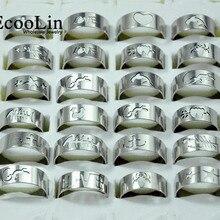 50 шт., модные мужские кольца из нержавеющей стали с ажурным узором, смешанные партии,, мужские ювелирные изделия, упаковка LB117