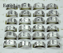 50Pcs Fashion Openwork Pattern Stainless Steel Men Rings Mixed Lots Wholesale Men's Jewelry Bulks Packs LB117