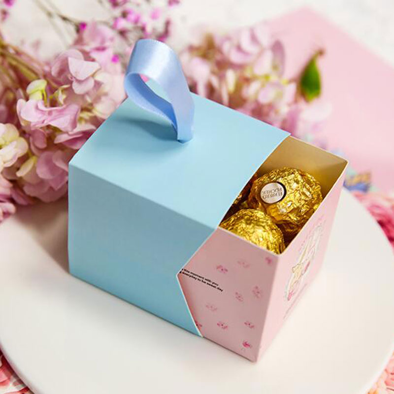 20pcs/lot Lovely Chocolate Gift Box with Ribbon Wedding Day Paper Candy Bag Wedding Decoration Marriage Beautiful Gift for Guest