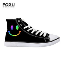 FORUDESIGNS Woman Casual Canvas Shoes High Top Nurse Independent Design Cartoon Smile Style Women Breathable Custom