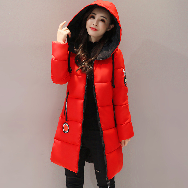 2018 New Women Winter Coat Casual Plus Size Hooded Thick Solid Outwear Winter Jacket Long Pakas 3XL