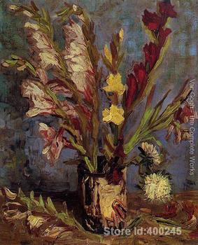 artwork by Vincent Van Gogh Vase with Gladioli 2 Oil painting canvas reproduction High quality Hand painted