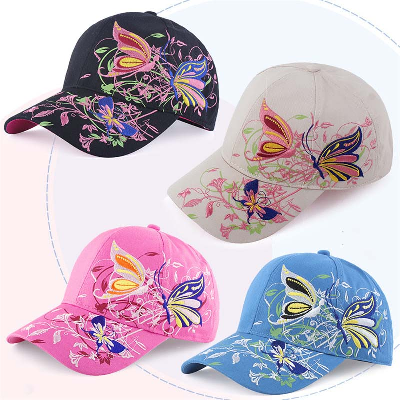 2018 Fashion Butterfly Embroidery Women s Hats Snapback Caps Nice Baseball  Cap For Women  gorras mujer Adjustable Female Cap-in Baseball Caps from  Apparel ... 670ff3c4f9a2