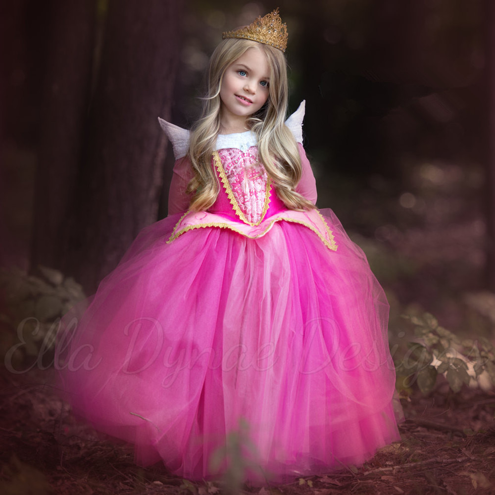 2017 New arrival princess girls Sleeping beauty dress Princess Aurora Pink dress for Party Wedding Christmas gift quality high