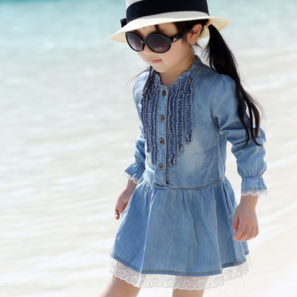 2-7Y Kids Girls Cowboy Dresss Toddlers Fashion Buttons Demin Baby Tops Shirts Dresses 2018 ...