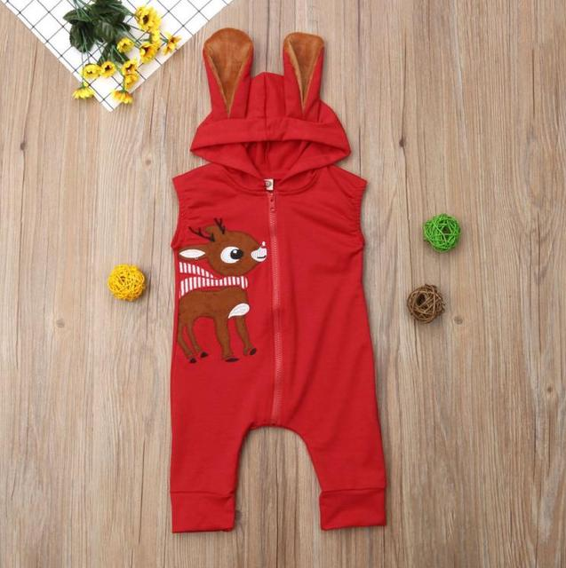 8ff965984a5 Newborn Baby Girl Boy Clothing Bunny Ear XMAS Romper Warm Sleeveless Cotton  Hooded Jumpsuit Outfits Clothes