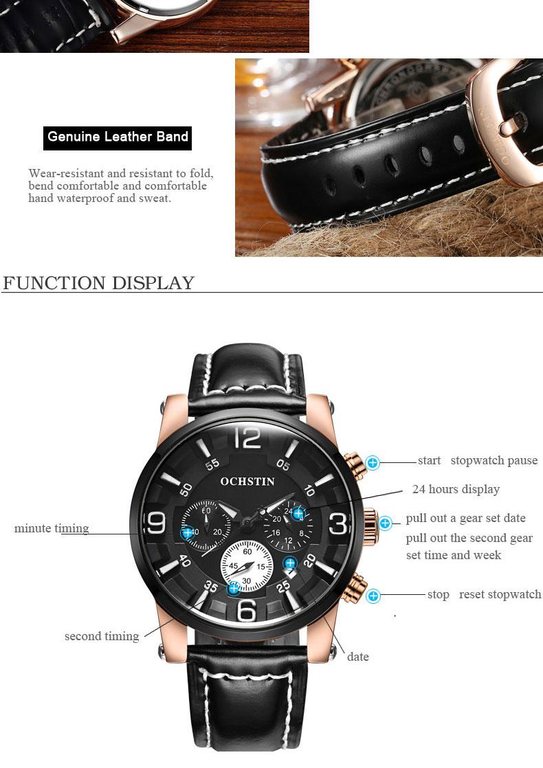 топ элитный бренд ochstin для мужчин спортивные часы кварцевых часов хронограф 6 руки часы человек кожаный ремешок военная униформа для мужчин наручные часы