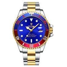 TEVISE coloré lumineux en acier ceinture avec calendrier automatique mécanique montre étanche décontracté montre-bracelet pour hommes femmes T801