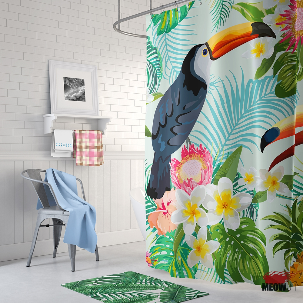 Rainforest Jungle Toucan Shower Curtain Printed Polyester Fabric Bathroom Decor with Hooks Free Shipping