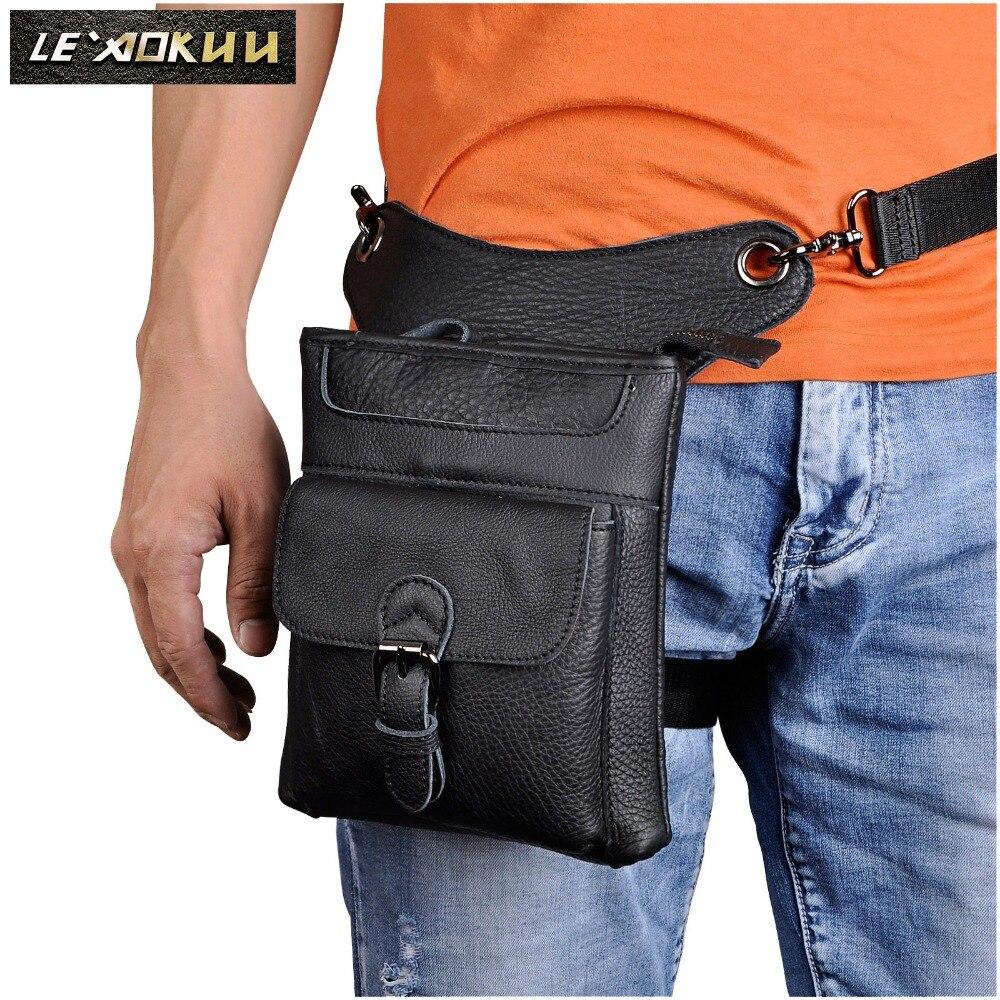 Real Leather Men Design Casual Messenger Shoulder Sling Bag Fashion Multifunction Waist Belt Pack Drop Leg Bag Pad Pouch 211-12