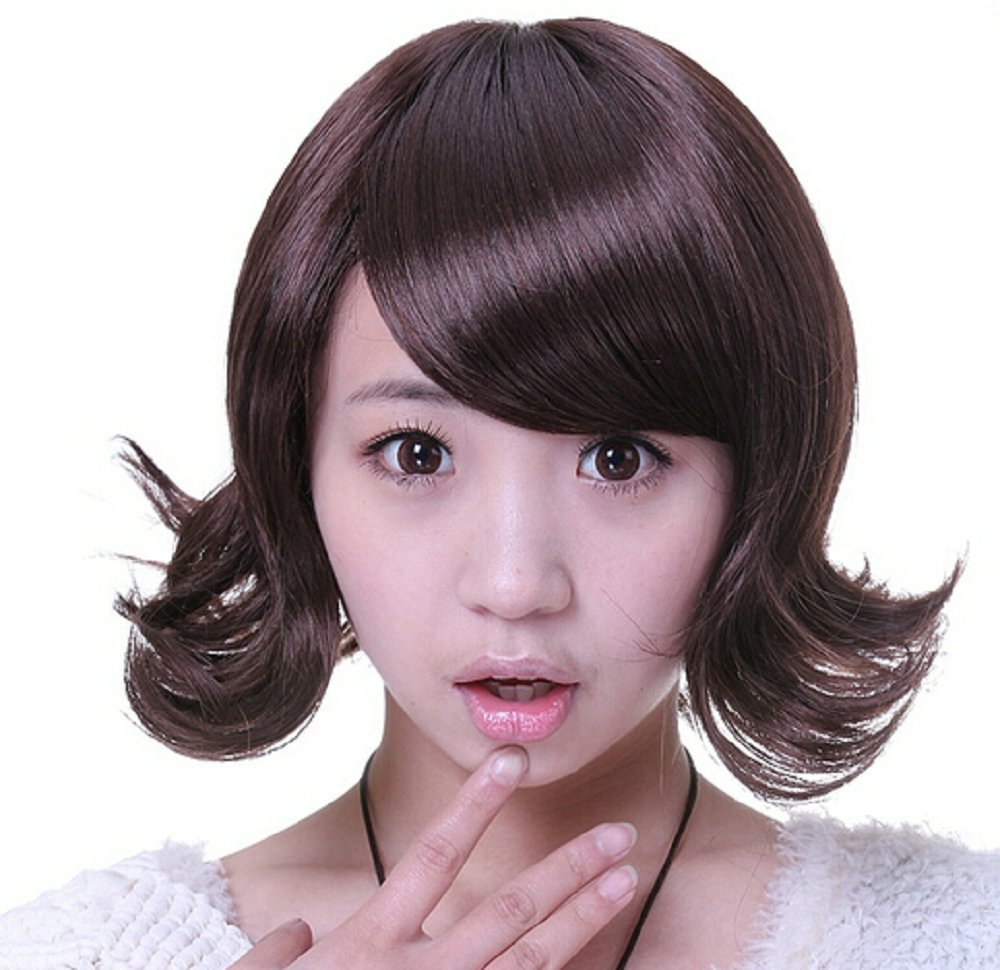 Japan And South Korea Short Curly Hair Cute Hairstyle Oblique Bangs