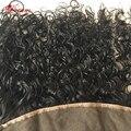 Полное Кружева Фронтальная Закрытие 13x4 Вьющиеся Девственницы Индийские Человеческих Волос Кружева Фронтальной с Ребенком Волос Индийский девы вьющиеся волосы фронтальной