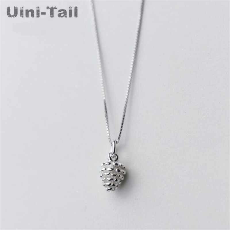 925 sterling silver necklace female Korean simple fresh art and literature silver solid small pine necklace accessories gift