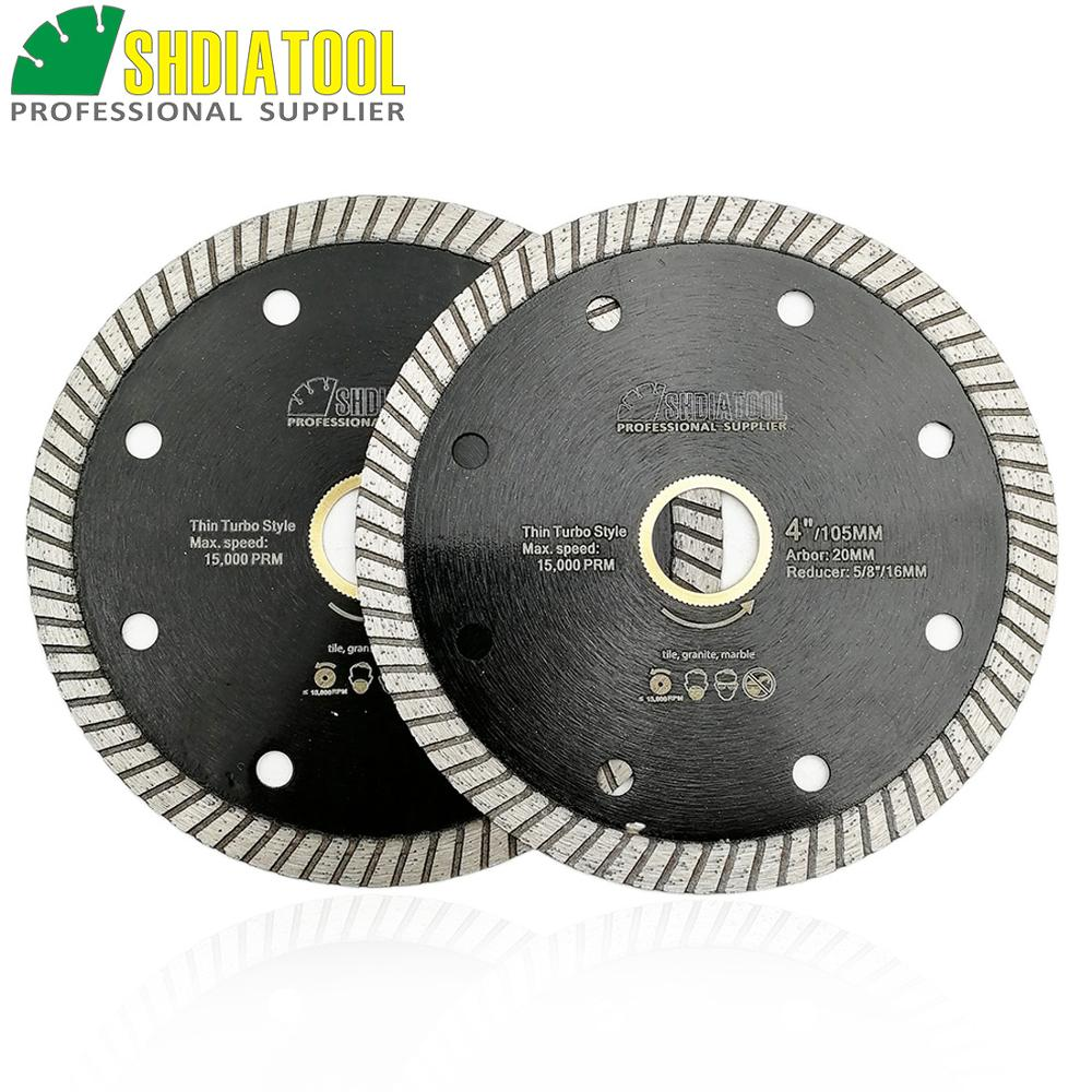 SHDIATOOL 2pcs Super-Thin Diamond Turbo Blades Ceramic Tile Granite Cutting Disc Ramic Granite Sawblade 4
