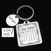 2016 Key Chain Save Special Date Heart Highlight Keychain Anniversary Hand Stamp Keychainwedding Birthday Square Shape