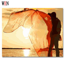 WEEN Kiss Lover Seaside Pictures Painting By numbers DIY Hand Painted Digital Wall Romantic Canvas Art Coloring by Acrylic 2017