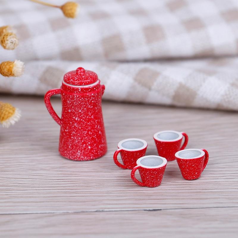 5 Pcs 1/12 Dollhouse Miniature Porcelain Coffee Tea Lid Pot Kettle Cups Set Kitchen Classic Toy Pretend Play Best Gift Girl Doll