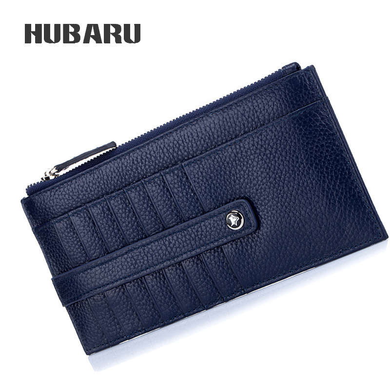 HUBARU Fashion Women Men Long Simple Wallet Genuine Leather Multi-Card Holder Big Zipper Pocket For Phone Money Slim Clamp Purse